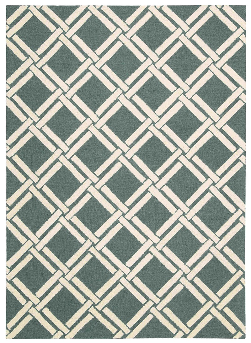 Linear Hand Hooked Teal Ivory Area Rugs