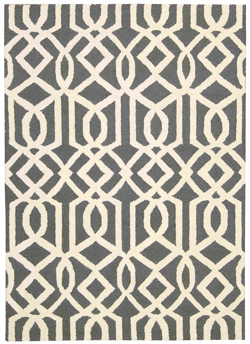 Linear Hand Hooked Grey Ivory Area Rugs