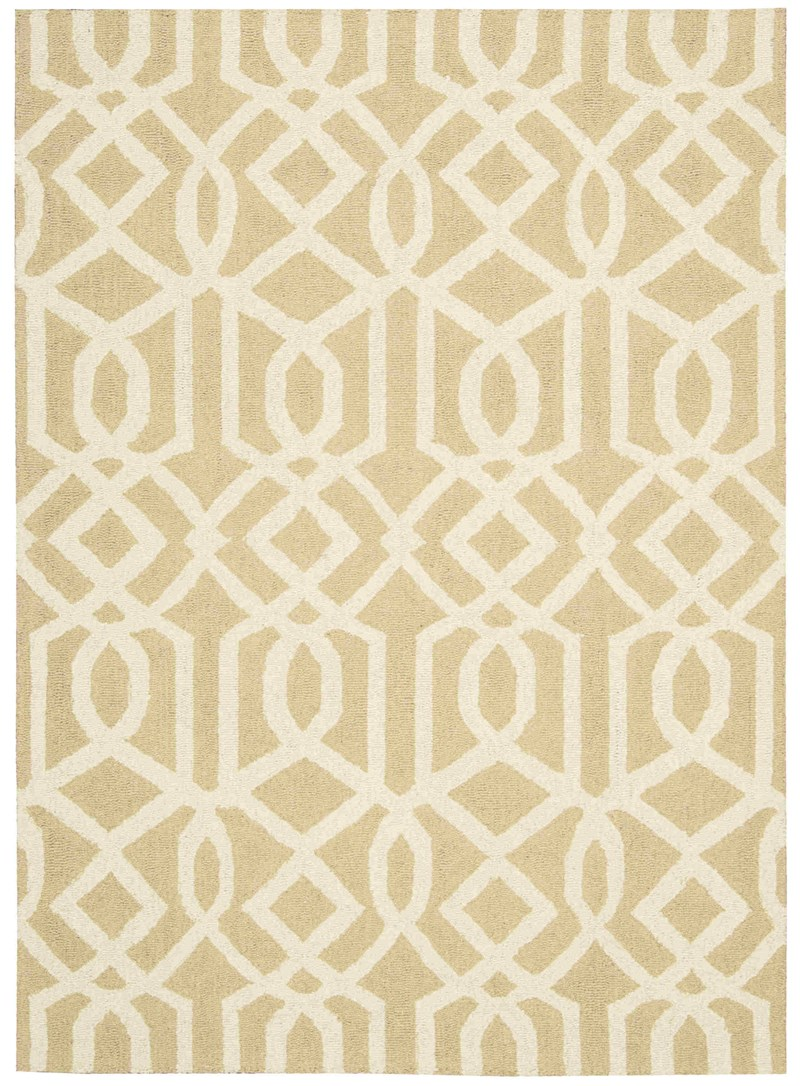 Linear Hand Hooked Sand Ivory Area Rugs