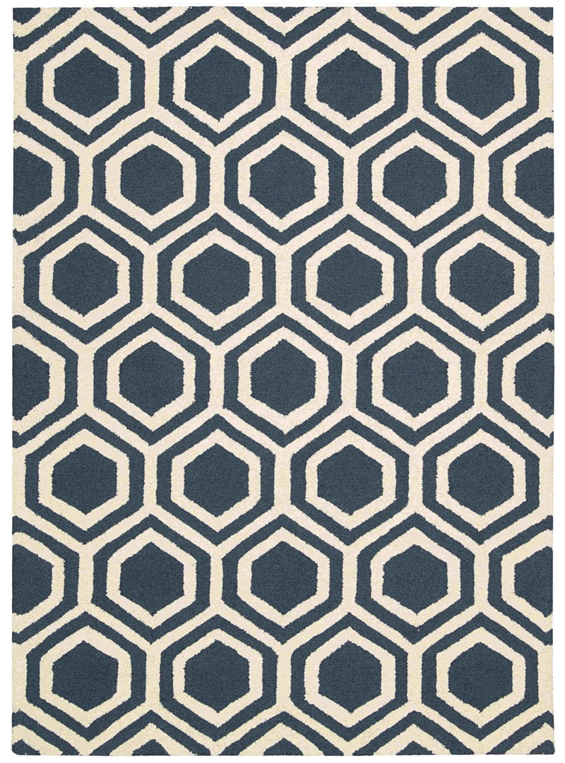 Linear Hand Hooked Blue Ivory Area Rugs