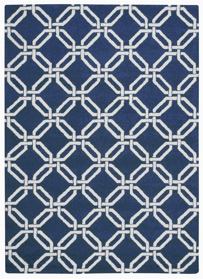 Linear Hand Hooked Navy Area Rugs