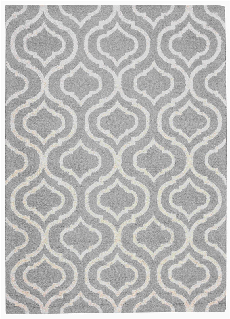 Linear Hand Hooked Light Blue Area Rugs