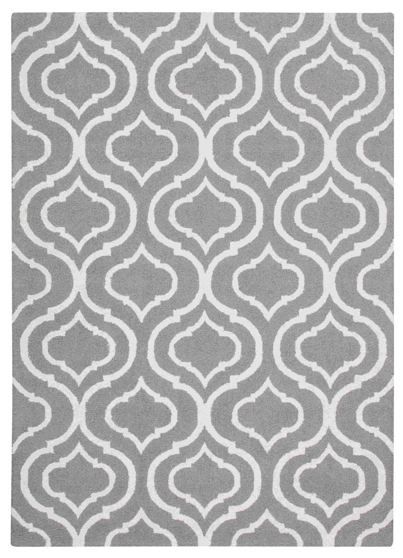 Linear Hand Hooked Silver Area Rugs