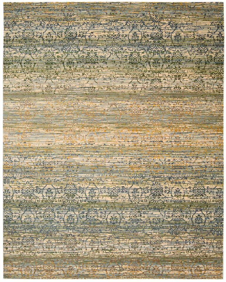 Rhapsody Machine Woven Beige Blue Area Rugs