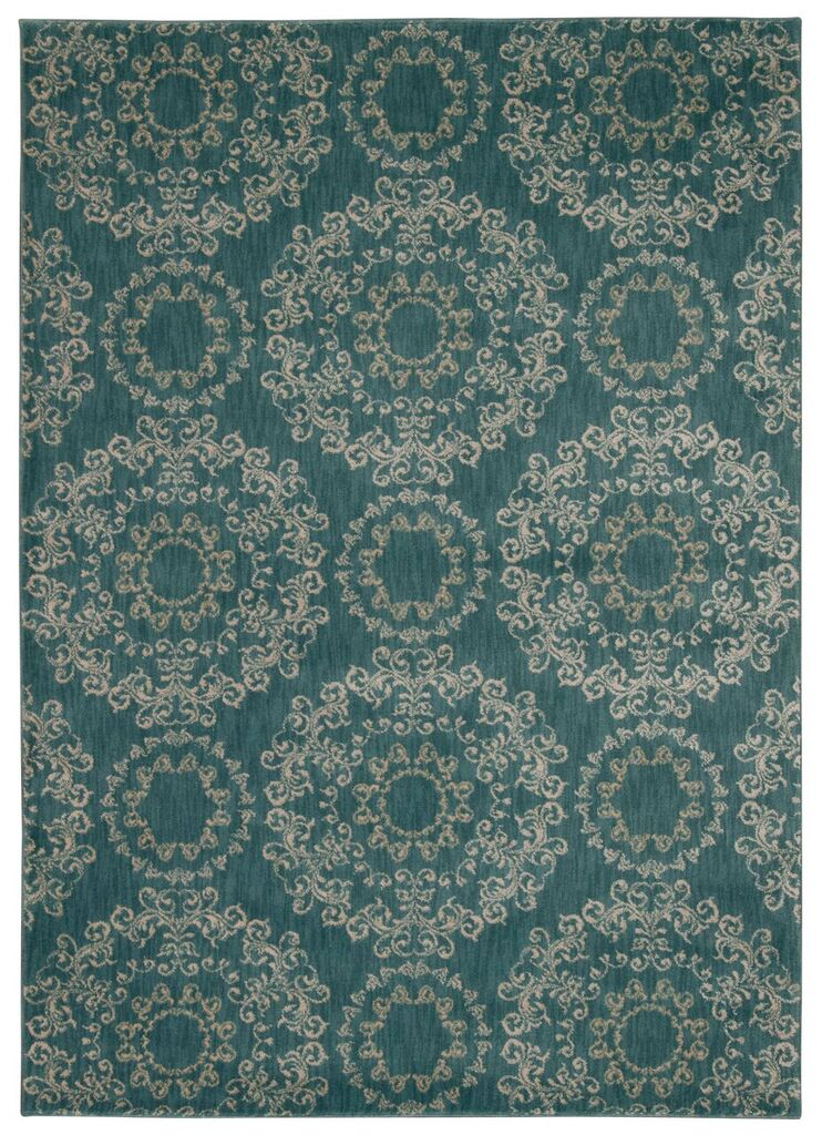 Tranquility Machine Woven Aqua Area Rugs