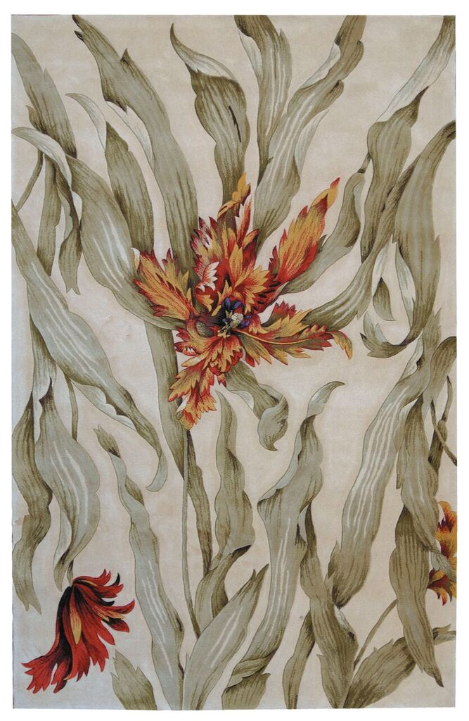 Tropics Hand Tufted Ivory Area Rugs