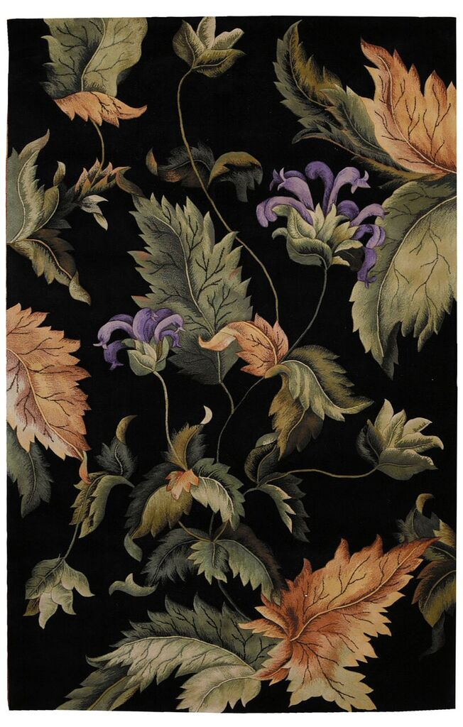 Tropics Hand Tufted Black Area Rugs