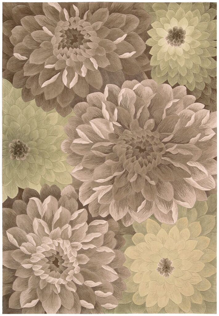 Tropics Hand Tufted Taupe Green Area Rugs