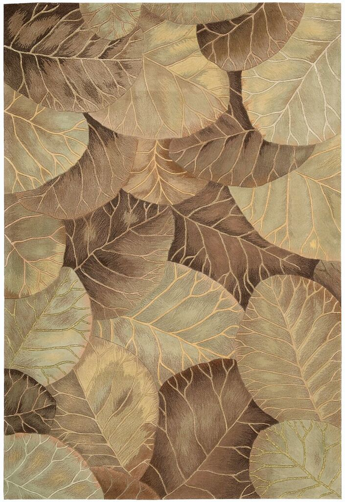 Tropics Hand Tufted Brown Green Area Rugs