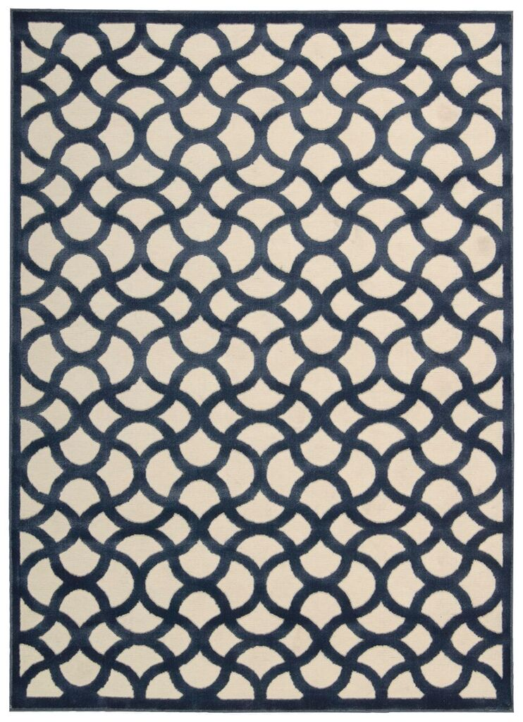 Ultima Machine Woven Ivory Blue Area Rugs