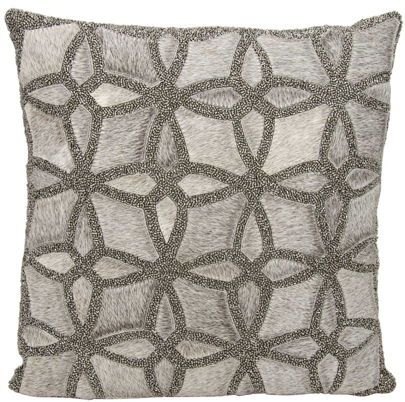 Mina Victory Couture Natural Hide Twinkle Grey Pewter Throw Pillow