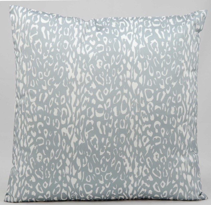 Mina Victory  Leopard Grey Outdoor Throw Pillow