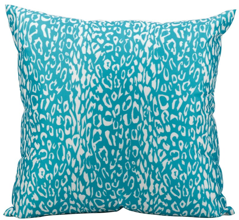 Mina Victory  Leopard Turquoise Outdoor Throw Pillow