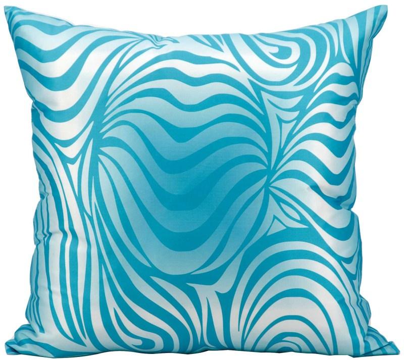 Mina Victory  Zebra Turquoise Outdoor Throw Pillow