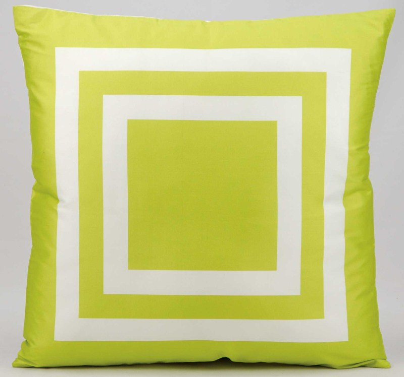 Mina Victory  Squares Green Outdoor Throw Pillow
