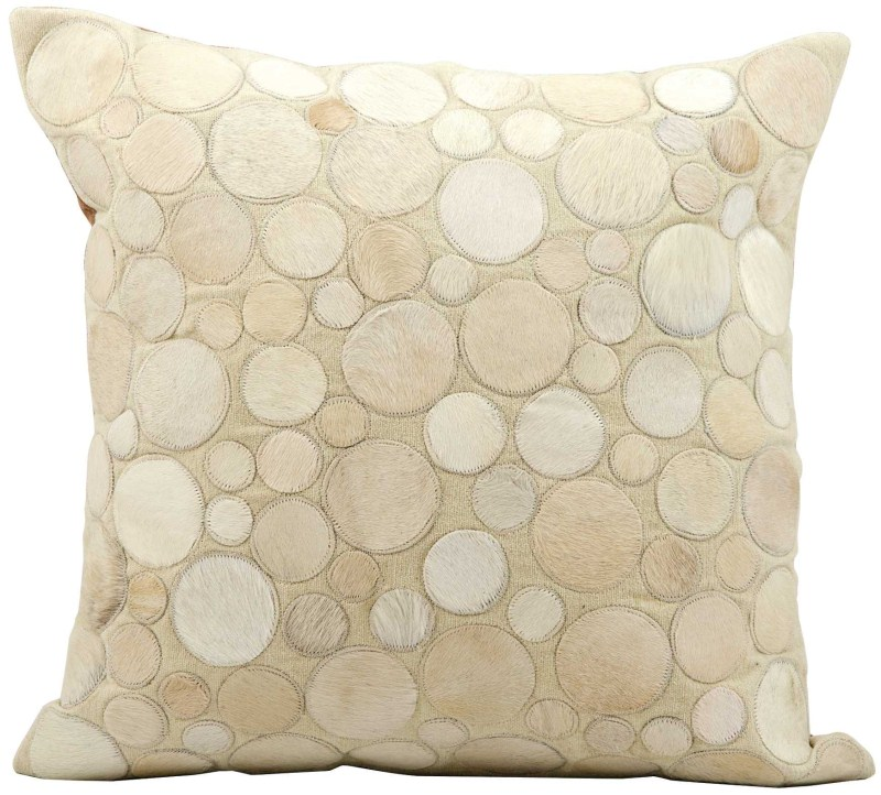 Mina Victory Natural Leather Hide Circle Beige Throw Pillow