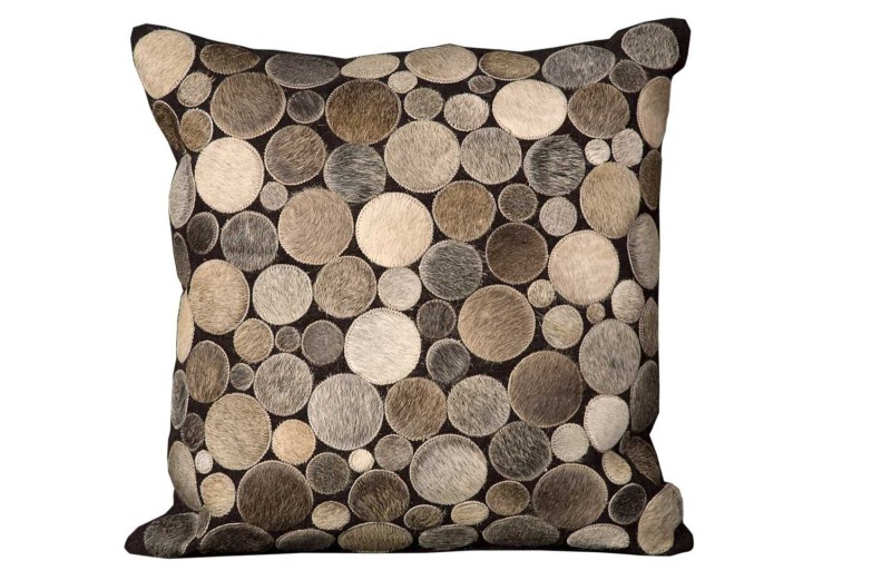 Mina Victory Natural Leather Hide Circle Silver Throw Pillow