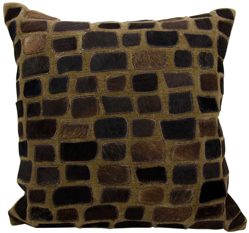 Mina Victory Natural Leather Hide Pebbles Chocolate Throw Pillow