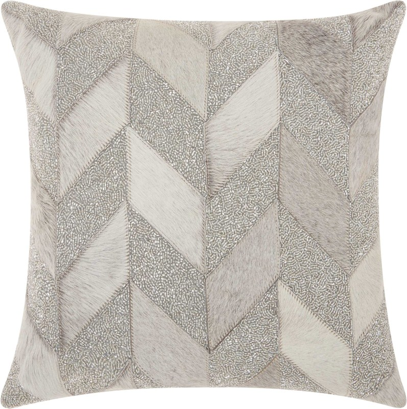 Mina Victory Couture Natural Hide Shimmer Chevron White Silver Throw Pillow