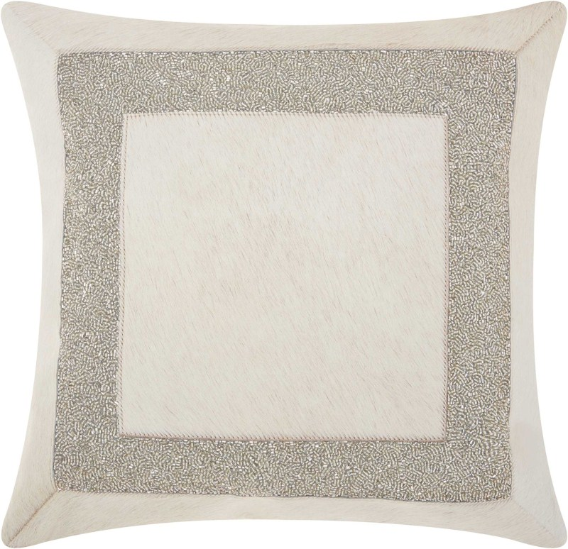 Mina Victory Couture Natural Hide Brilliant Frame White Silver Throw Pillow