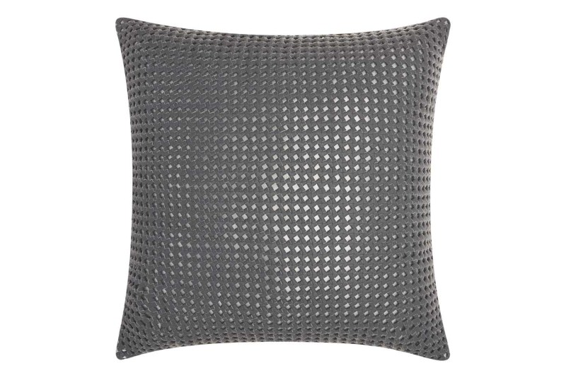 Mina Victory Couture Natural Hide Woven Metallic Grey Silver Throw Pillow