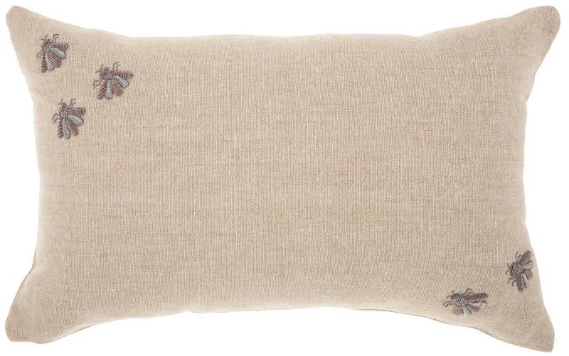 Mina Victory Couture Luster Corner Embellished Bees Throw Pillow