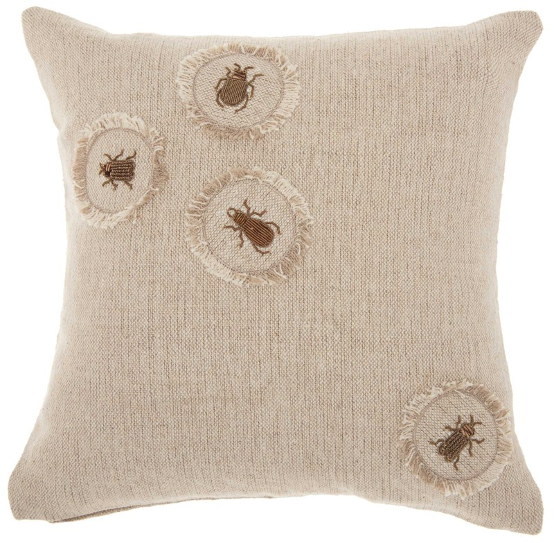 Mina Victory Couture Luster Corner Embellished Beetles Linen Throw Pillow