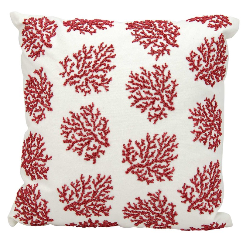 Mina Victory  Beaded Corals Red/white Outdoor Throw Pillow