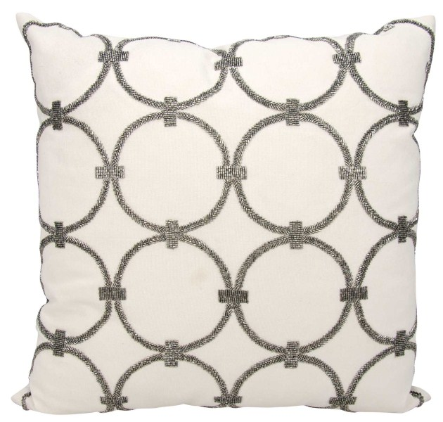 Mina Victory Luminecence Circles Pewter Throw Pillow