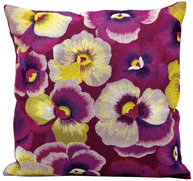 Kathy Ireland Pansies Multicolor Throw Pillow