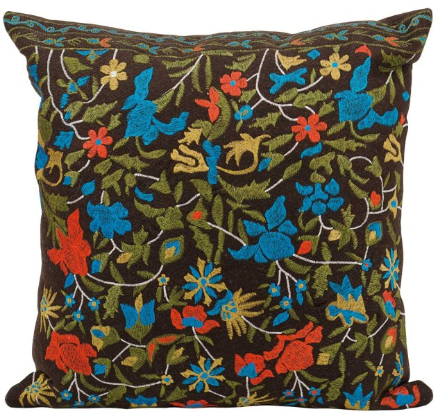 Mina Victory Life Styles Flowers Brown Throw Pillow