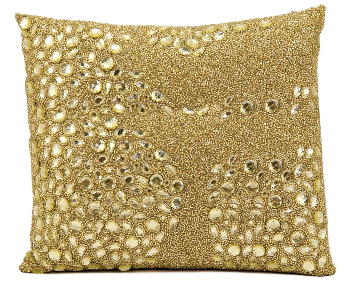 Mina Victory Luminecence Fully Beaded Light Gold Throw Pillow