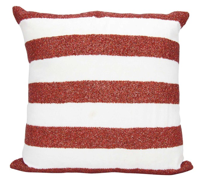 Mina Victory Luminecence Flag Stripes Red/white Throw Pillow