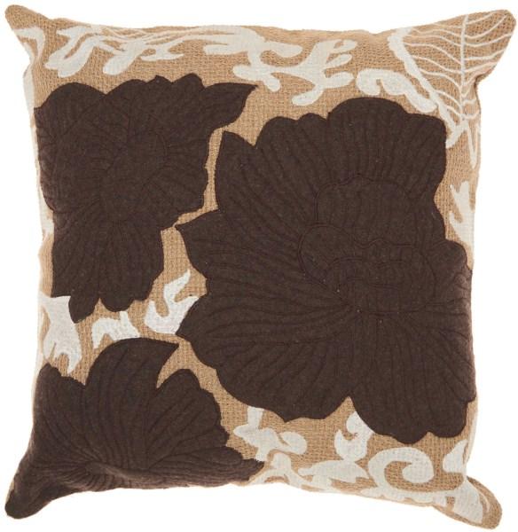 Mina Victory Felt Flowers Beige/brown Throw Pillow
