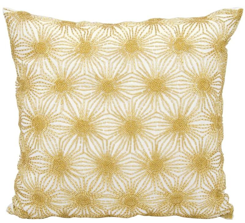 Michael Amini Beaded Sun Stars White Gold Throw Pillow