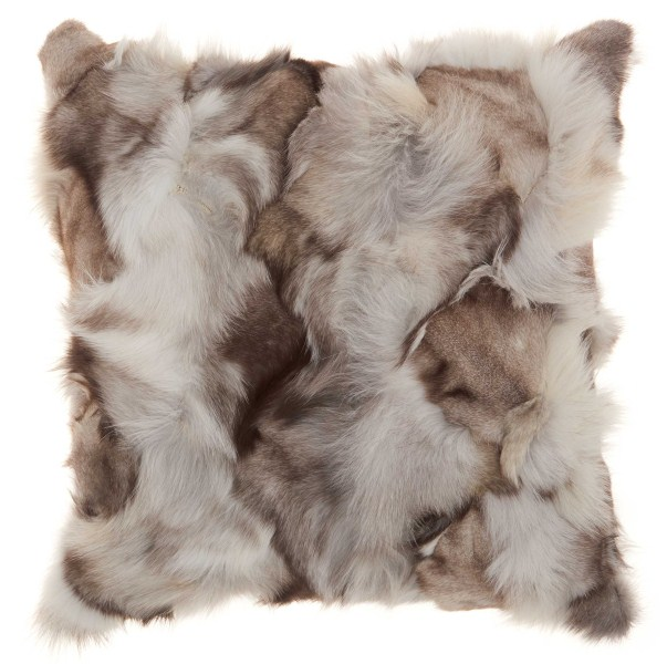 Mina Victory Couture Fur Fox Skin Silver Throw Pillow