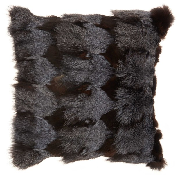 Mina Victory Couture Fur Fox Fur Dark Grey Throw Pillow