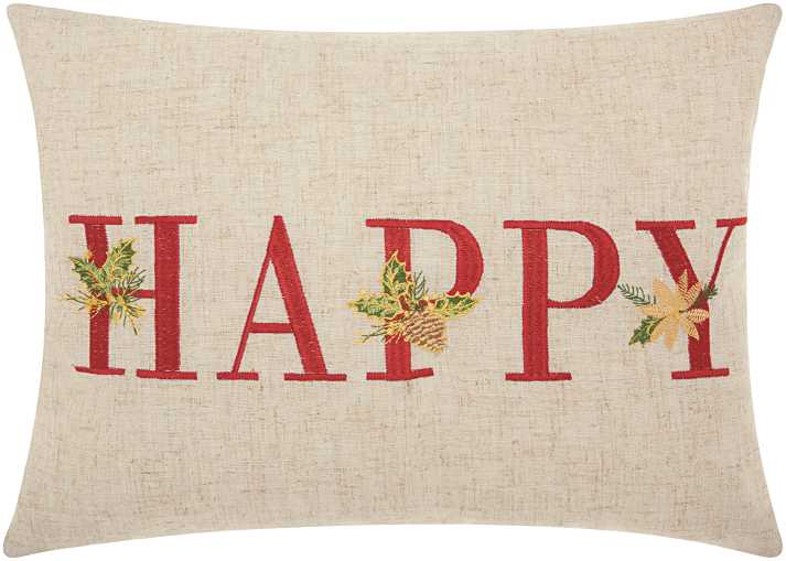Mina Victory Home For The Holiday Happy Holiday Natural Throw Pillow
