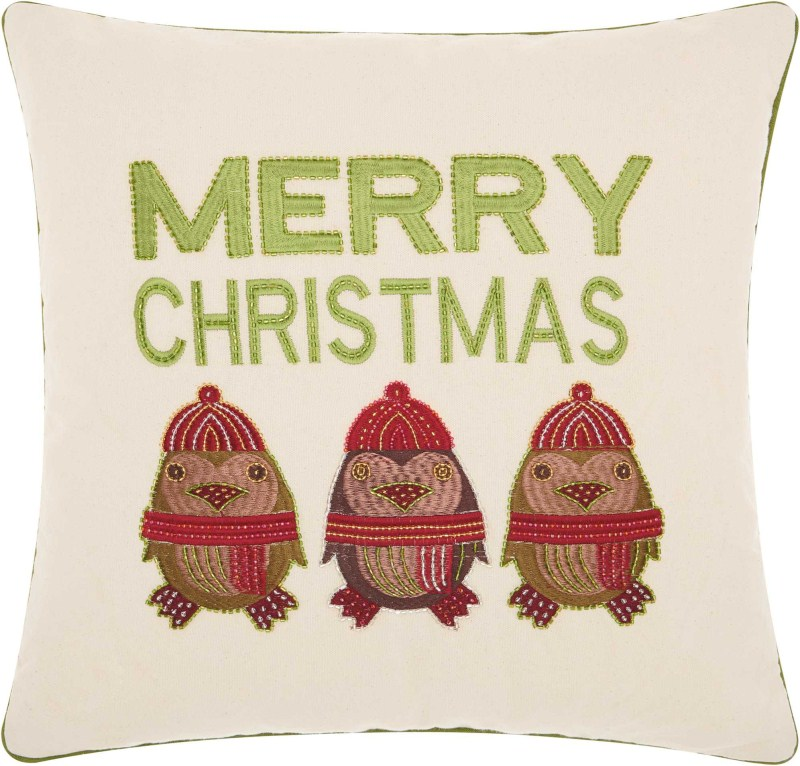 Kathy Ireland Christmas Merry Owls Natural Throw Pillow