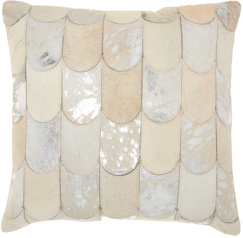Kathy Ireland Natural Hair On Hide Lady Fingers White/silver Throw Pillow