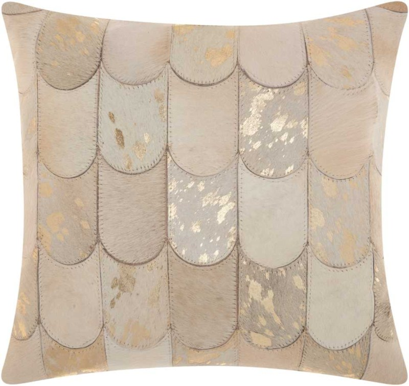 Kathy Ireland Natural Hair On Hide Lady Fingers White Gold Throw Pillow