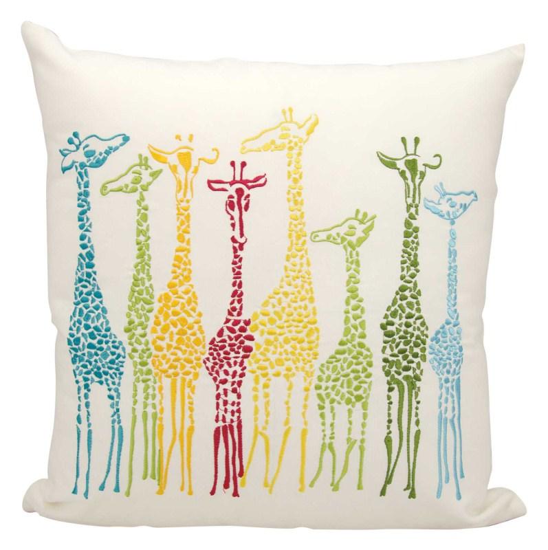 Mina Victory  Giraffes Multicolor Outdoor Throw Pillow