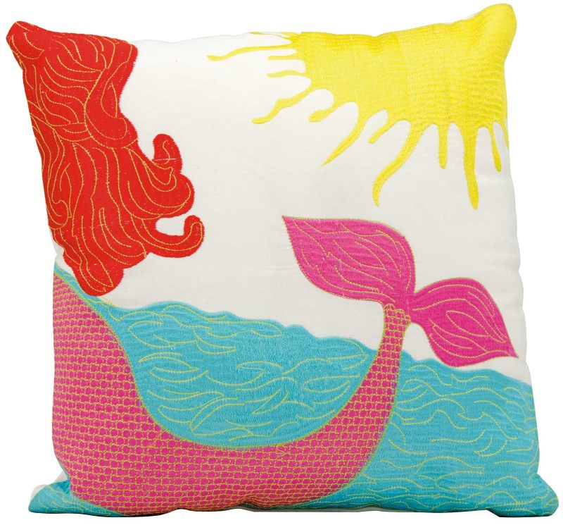 Mina Victory  Mermaid Multicolor Outdoor Throw Pillow