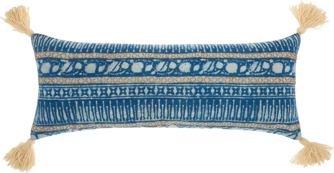 Mina Victory Life Styles Boho Stitch Print Blue Throw Pillow
