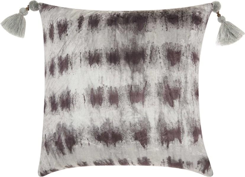 Mina Victory Life Styles Velvet Tie Dye Black/silver Throw Pillow