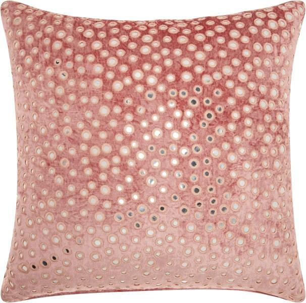 Mina Victory Life Styles Velvet Mirrors Rose Throw Pillow