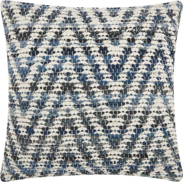 Mina Victory Life Styles Woven Chevron Denim Throw Pillow