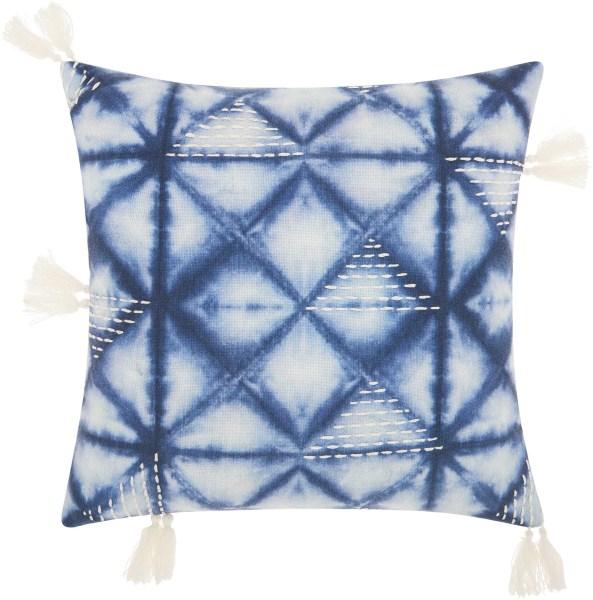 Mina Victory Life Styles Tie Dye Triangles Indigo Throw Pillow