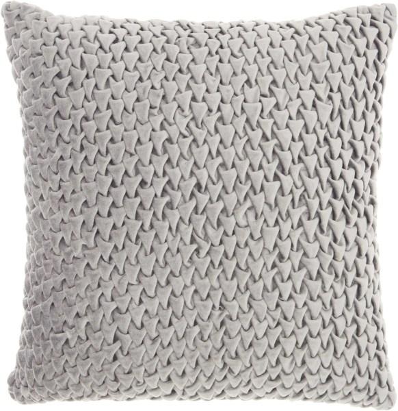 Mina Victory Life Styles Pleated Velvet Light Grey Throw Pillow