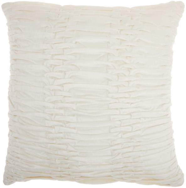 Mina Victory Life Styles Ruched Velvet Cream Throw Pillow